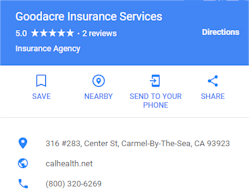 Google review for www.calhealth.net and Goodacre Insurance Services